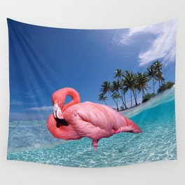 Flamingo and Palms Wall Tapestry