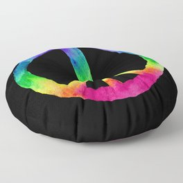 Rainbow Watercolor Peace Sign - Black Background Floor Pillow