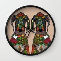 great dane Wall Clocks featuring Great Dane love beige by Sharon Turner