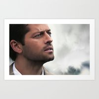 castiel Art Prints featuring Castiel by LindaMarieAnson
