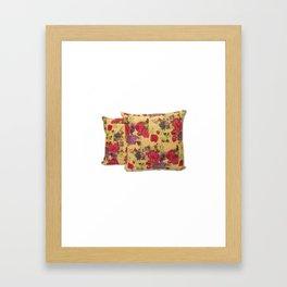 Handmade Floral Kantha Pillow Cover Framed Art Print