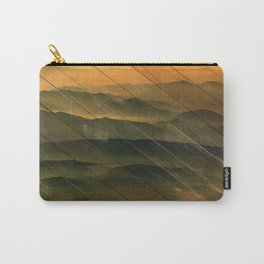Faux Wood Foggy Mountain Layers at Sunset Rural Landscape Photography Carry-All Pouch