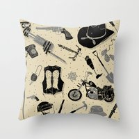 the walking dead Throw Pillows featuring Artifacts: Walking Dead by Josh Ln