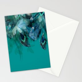DREAMY FEATHERS & LEAVES - Deep Cyan Stationery Cards