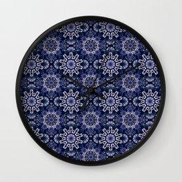 Blue Mandala Pattern Design Wall Clock