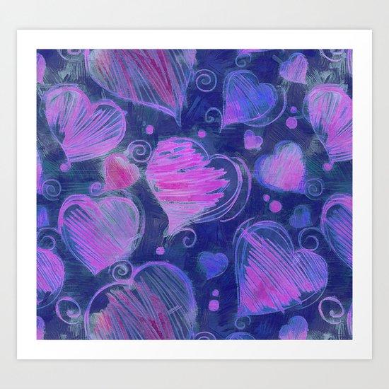 Deep pink and blue hand drawn hearts pattern Art Print