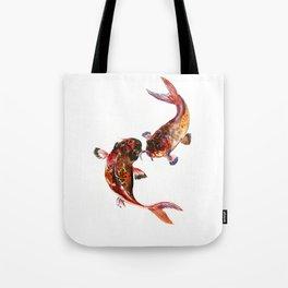 Two Koi, Feng Shui Art Koi Fish, Koi Fish design, Yin Yang Tote Bag