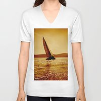 sailboat V-neck T-shirts featuring single sailboat by laika in cosmos