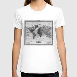 Vintage Map of The World (1833) White & Black T-shirt
