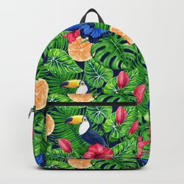 Toucan and tropical garden watercolor Backpack