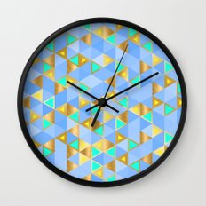 Contemporary Faux Gold and Blue Triangles Pattern Wall Clock