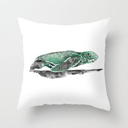 Leatherback sea turtle hatchling Throw Pillow