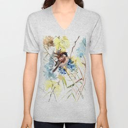 Sparrow, bird and flowers vintage style watercolor design sparrow Unisex V-Neck
