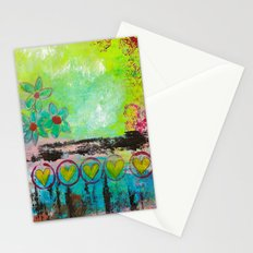 Hearts and Flowers Abstract Stationery Cards