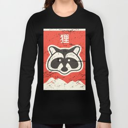 """Tanuki"" Retro Kawaii Japanese Anime Poster Long Sleeve T-shirt"
