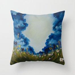 Sky Break, Skyscape, Landscape, Field of Flowers, Wild Flowers Throw Pillow