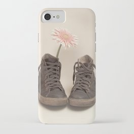 Brown Converse Boots and Pink Flower (Retro Still Life Photography)  iPhone Case