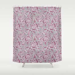 Gray pink lace Shower Curtain