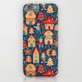 Fairy gnomes and magic houses.  Christmas trees, months and stars. Seamless Pattern in folk style. iPhone Case