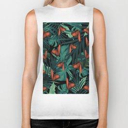 Tropical Butterfly Jungle Night Leaves Pattern #2 #tropical #decor #art #society6 Biker Tank