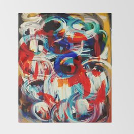 Abstract Action American Painting Throw Blanket
