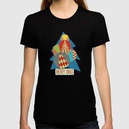 Christmas Tree minimalist blue T-shirt