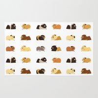 guinea pig Area & Throw Rugs featuring Guinea pigs by stephasocks