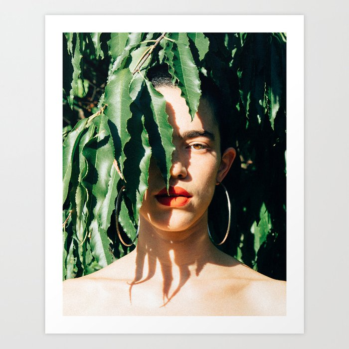 Leaves and a Woman's Face Art Print