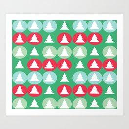 Christmas pattern green Art Print
