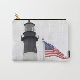 Tybee Island Lighthouse with a U.S. Flag Carry-All Pouch