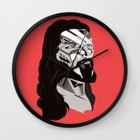 merry christmas Wall Clocks featuring Merry Christmas by Tshirtbaba