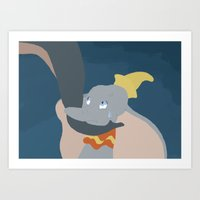 dumbo Art Prints featuring Dumbo by Citron Vert