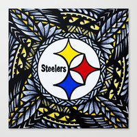 steelers Canvas Prints featuring New Tribal Steelers by Lonica Photography & Poly Designs