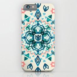 Watercolor Lotus Mandala in Teal & Salmon Pink iPhone Case