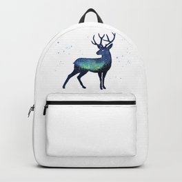 Galaxy Reindeer Silhouette with Northern Lights Backpack