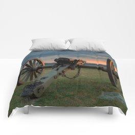 Gettysburg Cannon Sunset Comforters