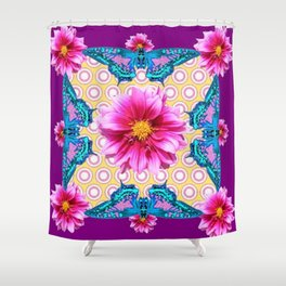 BLUE BUTTERFLIES FUCHSIA DAHLIA FLOWERS ABSTRACT Shower Curtain