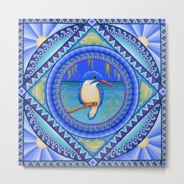 Australian Kingfisher Mandala Metal Print