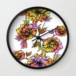 Rainbow Flowers Wall Clock