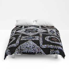 Black White Blue Red Mosaic Print Comforters