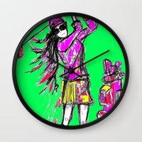 girl power Wall Clocks featuring Girl Power by sladja