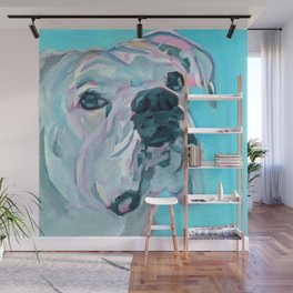 Bella the White Boxer Girl Wall Mural