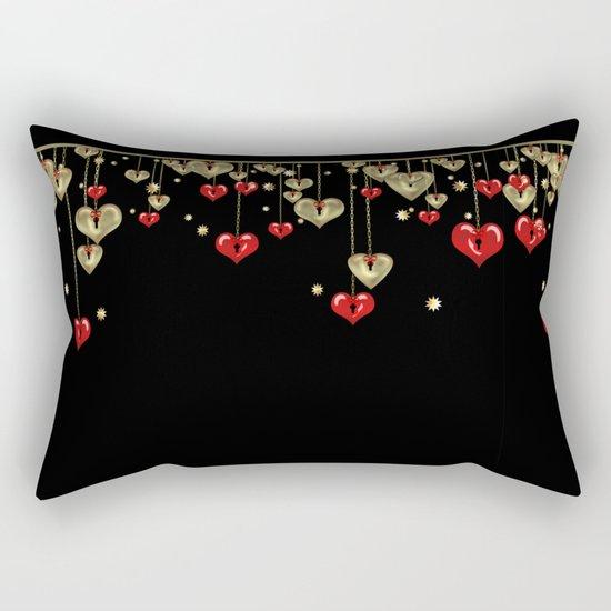 Beautiful glitter shine hearts on black Valentines Day greeting Rectangular Pillow
