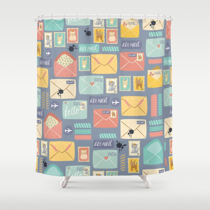 Retro styled pattern with letters and postcards Shower Curtain