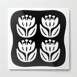 Mid Century Modern Flower Composition 241 Black and White Metal Print