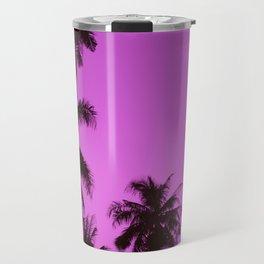 Tropical palm trees on blue pink Travel Mug