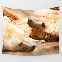 bears Wall Tapestries featuring Bears by Sylvia C