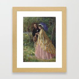 John Bagnold Burgess,  Lovers conversing in a bluebell wood Framed Art Print