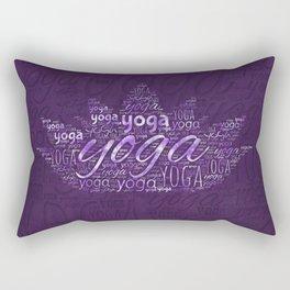 Yoga Word Art in Lotus shape on  Purple Rectangular Pillow