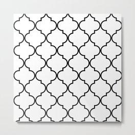Quatrefoil - black on white Metal Print